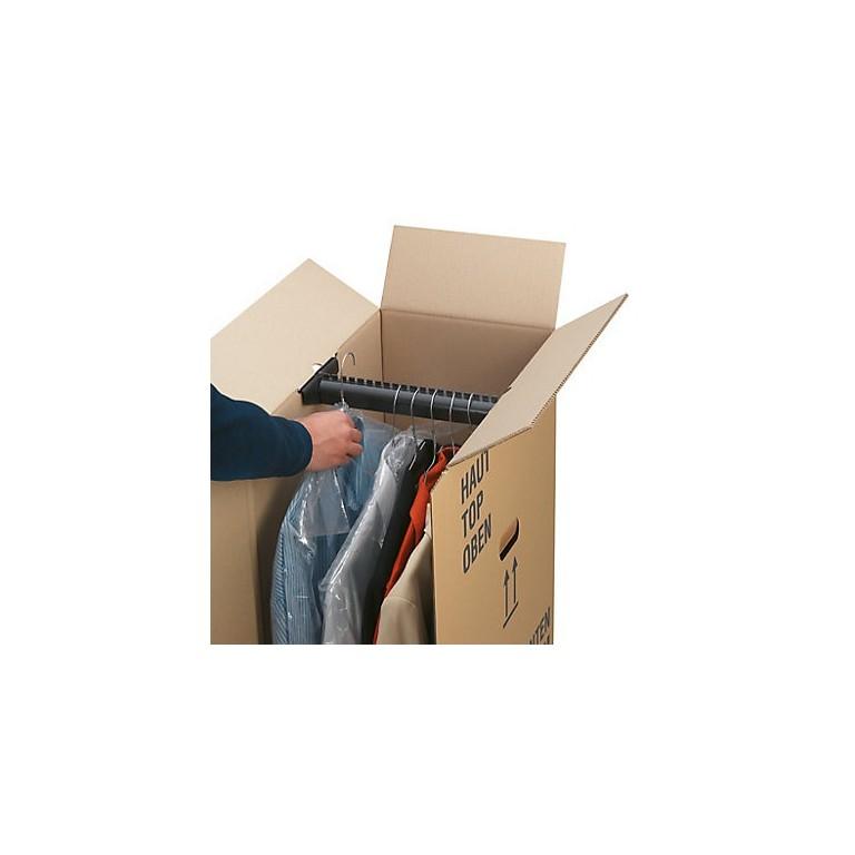 Porte-cintres pour caisse penderie en carton