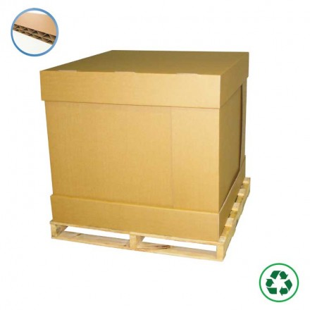 Container carton fond + couvercle