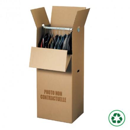 Caisse penderie en carton. Protection des vêtements lors de déménagement.