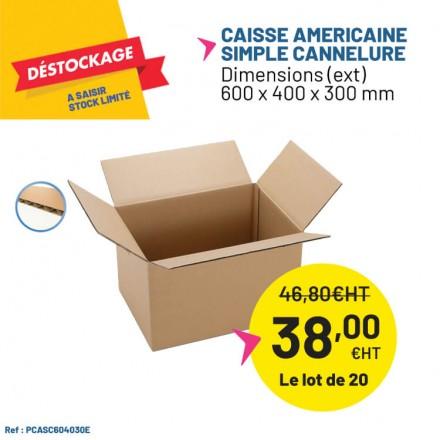 Caisse carton simple cannelure 600x400x300mm