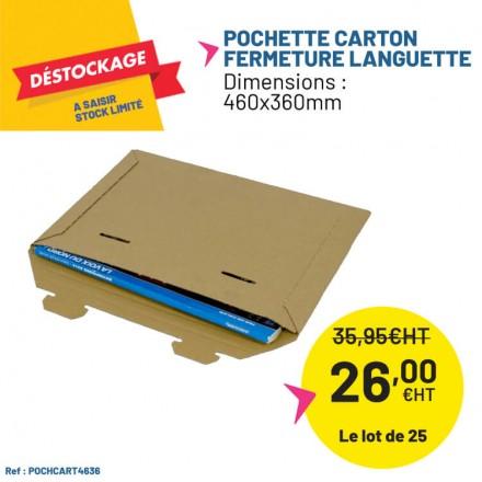 Pochette carton fermeture avec languette - 460x360mm