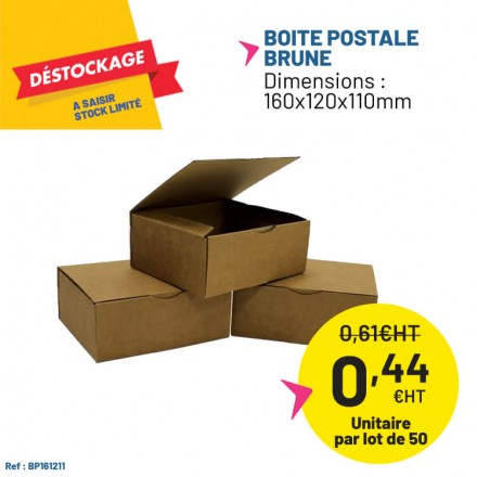 Boite postale carton brun 160x120x110mm