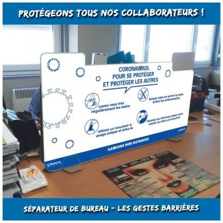 Séparateur de bureau impression les gestes barrières - Distripackaging